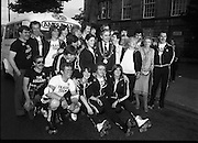 "1980-08-15.15th August 1980.15/08/1980.08-15-80..Photographed outside Kilmainham Jail, Dublin...Members of the Roller All Star Hockey Club assemble before setting out on the non-stop roller skating marathon. Along the route from Dublin to Cork money will be raised in each town passed though. The proceeds will go to the Central Remedial Clinic. At Cork the city's Lord Mayor, Toddy O'Sullivan will meet and greet them. .Dublin Lord Mayor, Fergus O'Brien is in the middle row wearing the chain of office. Just behind him wearing another 'chain of office' is Billy Steenson, the ""lord Mayor of Malahide.' Second from the right in the group shot is Senator Lady Valerie Goulding, Chairperson and managing Director of the Central Remedial Clinic.."