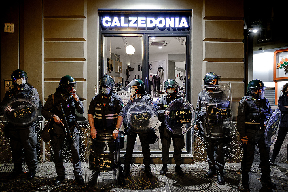 Naples, October 2020. Protest demonstration of the working categories affected by the new government directives for anti-covid measures. There were also clashes between the police and the most violent fringes of the protest.