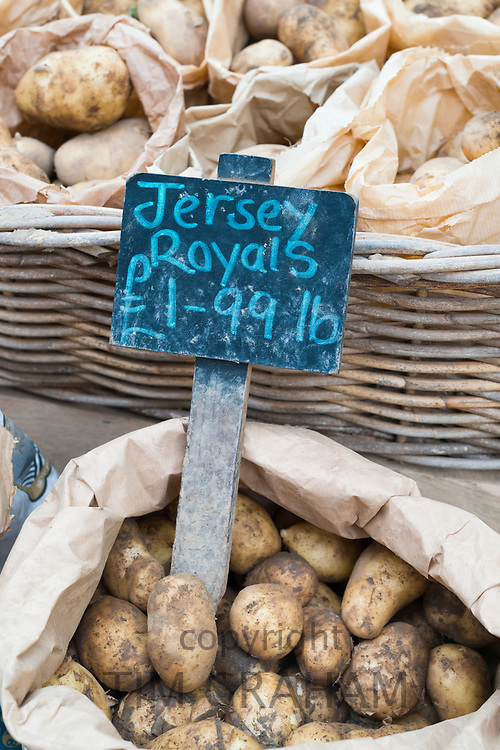 Famous Jersey Royal potatoes on sale at St Helier Central Market in Jersey, Channel Isles