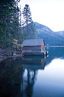 Scenic image of boathouse on Fallen Leaf Lake, CA.