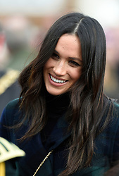 Meghan Markle while on a walkabout on the esplanade at Edinburgh Castle, as she and Prince Harry visited Scotland.