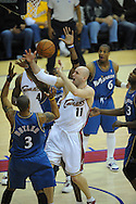 The Washington Wizards defeated the Cleveland Cavaliers 88-87 in Game 5 of the First Round of the NBA Playoffs, April 30, 2008 at Quicken Loans Arena in Cleveland.<br /> Zydrunas Ilgauskas of Cleveland reaches for a rebound.