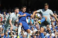 Football - 2017 / 2018 Premier League - Chelsea vs. Everton<br /> <br /> Phil Jagielka and Michael Keane of Everton foil Alvaro Morata  at Stamford Bridge.<br /> <br /> COLORSPORT/ANDREW COWIE