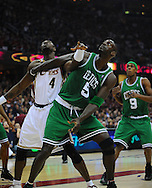 Kevin Garnett and Ben Wallace battle for a rebound..The Cleveland Cavaliers defeated the Boston Celtics 108-84 in Game 3 of the Eastern Conference Semi-Finals at Quicken Loans Arena in Cleveland.