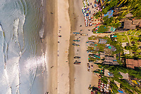 Aerial view above of beach, North Goa, India