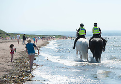 Mounted Police take their horses into the water to help them cool down during today's extremely hot weather, Troon Beach, Troon, Friday 26 May 2017 Angie Isac | EEm