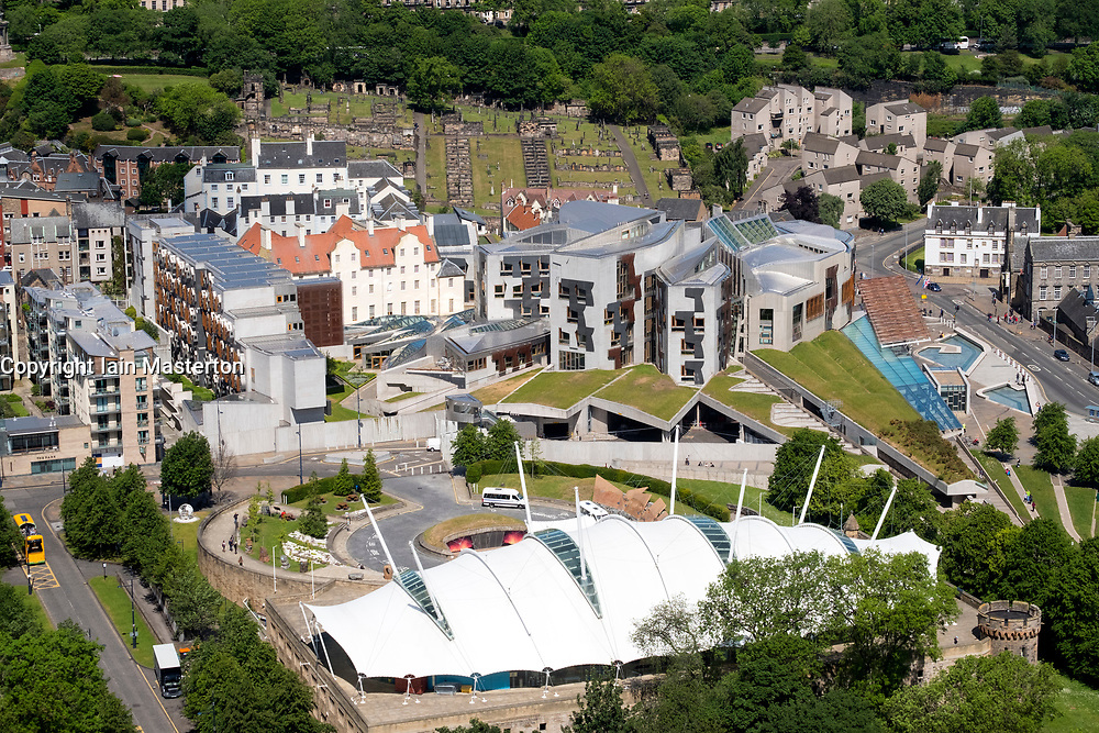 View of exterior of Scottish Parliament building at Holyrood in Edinburgh, Scotland, United Kingdom.