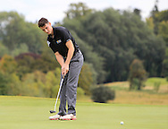 Stephen Kinch (MU) on the 18th green during the Final of the AIG Senior Cup at the AIG Cups & Shields National Finals in Carton House, Maynooth, Co. Kildare on the 19/09/15.<br /> Picture: Thos Caffrey | Golffile