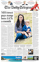 Daily Telegraph Page One: The Duchess of Cambridge and Prince George watch Polo in Gloucestershire, UK, on the 14th June 2015.<br /> <br /> Picture by James Whatling