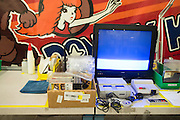A workstation for refurbishing game cartridges at the GameStop retro classics console games refurbishment center in Grapevine, Texas on June 24, 2015. (Cooper Neill for Mashable)