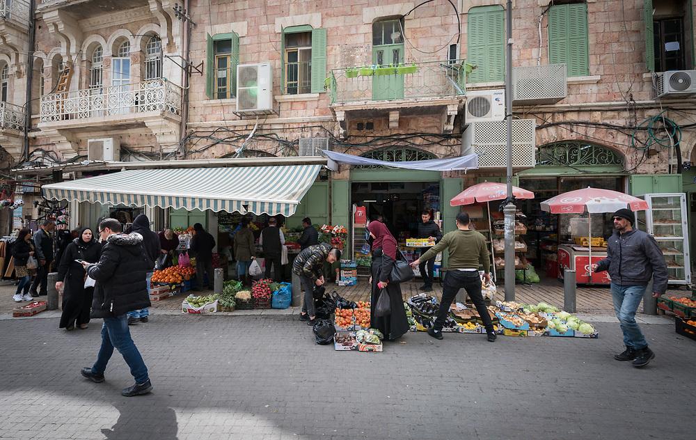 29 February 2020, Jerusalem: Daily life on Nablus Road in East Jerusalem.