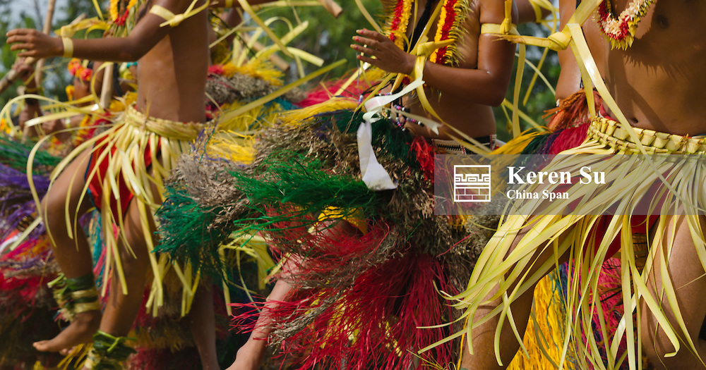 Yapese people in traditional clothing dancing at Yap Day Festival, Yap Island, Federated States of Micronesia