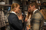 FREDDIE FOX; ANTONIA CLARK; ALLEN LEACH, Opening of new Hackett flagship store. Regent St. London. 28 November 2013.