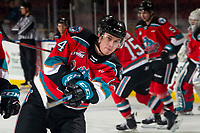 KELOWNA, BC - MARCH 11: Elias Carmichael #14 of the Kelowna Rockets warms up with a shot on net against the Victoria Royals at Prospera Place on March 11, 2020 in Kelowna, Canada. (Photo by Marissa Baecker/Shoot the Breeze)