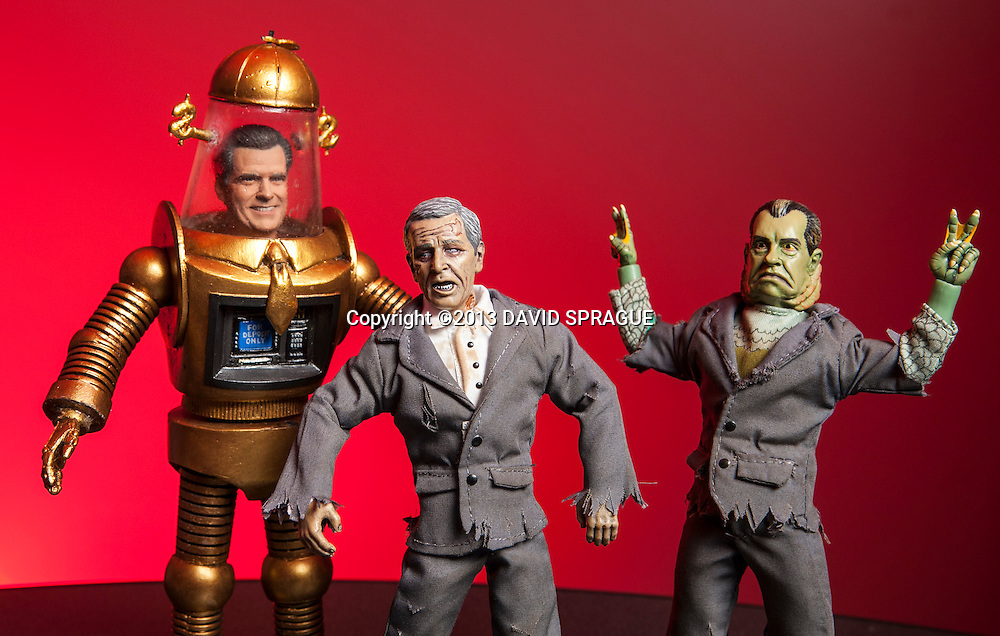 Presidential monster action figures Romney the Robot, Zomb-Bush and  Monster from the Watergate Lagoon. Shot Feb. 5th,  2013Photo by David Sprague ©2013