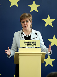 SNP launch European election campaign. Leader Nicola Sturgeon joined the party's six candidates.<br /> <br /> The candidates are Margaret Ferrier, Christian Allard, Alyn Smith, Aileen McLeod, Heather Anderson and Alex Kerr.<br /> <br /> Pictured: Nicola Sturgeon<br /> <br /> Alex Todd | Edinburgh Elite media
