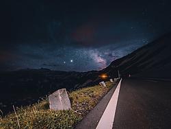 THEMENBILD - die Milchstrasse über den Bergen am Nachthimmel. Die Hochalpenstrasse verbindet die beiden Bundeslaender Salzburg und Kaernten und ist als Erlebnisstrasse vorrangig von touristischer Bedeutung, aufgenommen am 25. Juni 2020 in Fusch a.d. Glstr., Österreich // the milky way over the mountains in the night sky. The High Alpine Road connects the two provinces of Salzburg and Carinthia and is as an adventure road priority of tourist interest, Fusch a.d. Glstr., Austria on 2020/06/25. EXPA Pictures © 2020, PhotoCredit: EXPA/ JFK