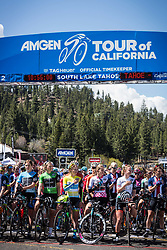 May 18, 2018 - South Lake Tahoe, California, U.S - Friday, May 18, 2018.The peloton removes their helmets during the National Anthem prior to Stage 2 of the Amgen Tour of California Women's Race empowered with SRAM, which starts and finishes in South Lake Tahoe, California. (Credit Image: © Tracy Barbutes via ZUMA Wire)