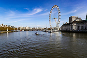 April 7, 2020, London, England, United Kingdom: A general view looking at London Eye from Westminster Bridge nearby St Thomas' Hospital as the British Prime Minister Boris Johnson was moved to intensive care after his coronavirus symptoms worsened in London, Tuesday, April 7, 2020. Johnson was admitted to St Thomas' hospital in central London on Sunday after his coronavirus symptoms persisted for 10 days. Having been in the hospital for tests and observation, his doctors advised that he be admitted to intensive care on Monday evening. The new coronavirus causes mild or moderate symptoms for most people, but for some, especially older adults and people with existing health problems, it can cause more severe illness or death. (Credit Image: © Vedat Xhymshiti/ZUMA Wire)