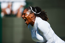 July 2, 2018 - London, England, U.S. - LONDON, ENG - JULY 02: SERENA WILLIAMS (USA) during day one match of the 2018 Wimbledon on July 2, 2018, at All England Lawn Tennis and Croquet Club in London,England. (Photo by Chaz Niell/Icon Sportswire) (Credit Image: © Chaz Niell/Icon SMI via ZUMA Press)