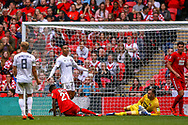 AFC Flyde forward Alex Reid (30) after his shot is saved during the FA Trophy final match between AFC Flyde and Leyton Orient at Wembley Stadium on 19 May 2019.