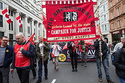 London, UK. 12th May, 2018. Supporters of the Shrewsbury 24 join tens of thousands of people on the New Deal for Working People march and rally organised by the TUC to call for more and better jobs and a more equal and prosperous country.