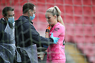 Manchester City goalkeeper Ellie Roebuck (26) gets some treatment during the FA Women's Super League match between Manchester United Women and Manchester City Women at Leigh Sports Village, Leigh, United Kingdom on 14 November 2020.