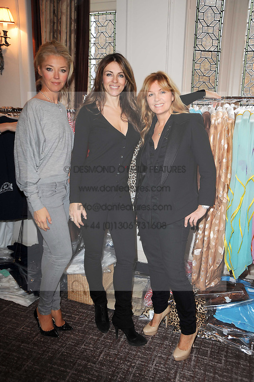 Left to right, TAMARA BECKWITH, ELIZABETH HURLEY and AMANDA KYME at a shopping afternoon hosted by Amanda Kyme and Tamara Beckwith featuring designs from Elizabeth Hurley held at the Cadogan Hotel, 75 Sloane Street, London SW1 on 23rd November 2010.