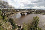 Modern road bridge crossing River Tweed, Berwick-upon-Tweed, Northumberland, England, UK