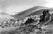 Engraving on steel of the city of Tiberias from Picturesque Palestine, Sinai and Egypt by Wilson, Charles William, Sir, 1836-1905; Lane-Poole, Stanley, 1854-1931 Volume 2. Published in New York by D. Appleton in 1881-1884