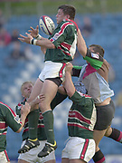 Twickenham, Surrey, England,  UK., 14/05/2003, MARTIN CORRY, FUMBLES THE LINE OUT BALL, Challenged by, TONY DIPROSE, during, the Zurich Premiership Rugby match, NEC Harlequins vs Leicester Tigers, played at the Stoop Memorial Ground, [Mandatory Credit: Peter Spurrier/Intersport Images]