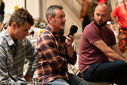 Don Cronin of Medaza Cycles (Ireland) on the mic at the Bobby Haas led public question and answer session with builders during the Handbuilt Show. Austin, Texas USA. Saturday, April 13, 2019. Photography ©2019 Michael Lichter.
