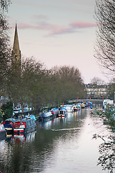 Little Venice, London, February 19th 2016. Houseboats moored on the Grand Union Canal as the sun rises on a clear, cold February morning. ©Paul Davey<br /> FOR LICENCING CONTACT: Paul Davey +44 (0) 7966 016 296 paul@pauldaveycreative.co.uk