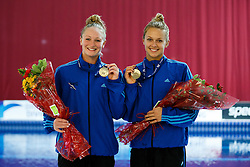 The Gold medallists for the Womens 3m Synchro Springboard Final, Sarah Barrow and Tonia Couch of Plymouth Diving - Photo mandatory by-line: Rogan Thomson/JMP - 07966 386802 - 20/02/2015 - SPORT - DIVING - Plymouth Life Centre, England - Day 1 - British Gas Diving Championships 2015.