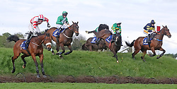 Ballyboker Bridge (4) and jockey Sean Flanagan jumping Ruby's Double to win The Mongey Communications La Touche Cup Cross Country Steeplechase during day three of the Punchestown Festival at Punchestown Racecourse, County Kildare, Ireland.