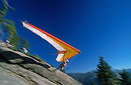 A hang glider pilot launches off Glacier Point. The sport of hang gliding in the park is allowed and is regulated and monitored by rangers.  July 1989.