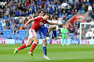Cardiff's Peter Whittingham (c) is challenged by Nottingham's Chris Cohen. EFL Skybet championship match, Cardiff city v Nottingham Forest at the Cardiff City Stadium in Cardiff, South Wales on Easter Monday 17th April 2017.<br /> pic by Carl Robertson, Andrew Orchard sports photography.