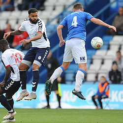 TELFORD COPYRIGHT MIKE SHERIDAN 15/9/2018 - Matthew Barnes Holmer of AFC Telford battles for a header with Jordan Keane of Stockport during the Vanarama Conference North fixture between AFC Telford United and Stockport County.