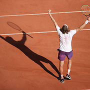 PARIS, FRANCE June 11.   Stefanos Tsitsipas of Greece celebrates his five set victory against Alexander Zverev of Germany on Court Philippe-Chatrier during the semi finals of the singles competition at the 2021 French Open Tennis Tournament at Roland Garros on June 11th 2021 in Paris, France. (Photo by Tim Clayton/Corbis via Getty Images)