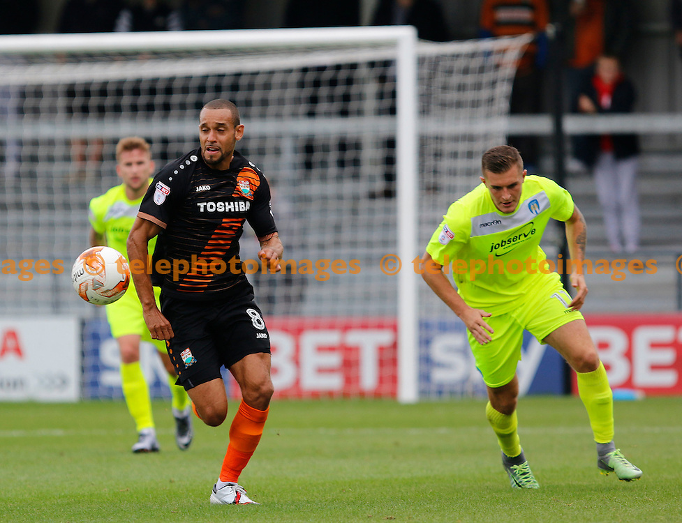 Barnet's Curtis Weston leads the counter attack during the Sky Bet League 2 match between Barnet and Colchester United at Underhill Stadium in London. September 17, 2016.<br /> Carlton Myrie / Telephoto Images<br /> +44 7967 642437