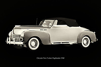 The 1940 Chrysler New Yorker Highlander can be seen in many films set in the 1940s. The 1940 Chrysler New Yorker Highlander was one of the most popular models driving around at the time. –<br /> -<br /> BUY THIS PRINT AT<br /> <br /> FINE ART AMERICA<br /> ENGLISH<br /> https://janke.pixels.com/featured/chrysler-new-yorker-highlander-1940-jan-keteleer.html<br /> <br /> WADM / OH MY PRINTS<br /> DUTCH / FRENCH / GERMAN<br /> https://www.werkaandemuur.nl/nl/shopwerk/Chrysler-New-Yorker-Highlander-1940/788328/132?mediumId=15&size=75x50<br /> -<br /> -
