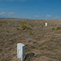 Headstones mark where soldiers commanded by General George Custer died at Little Bighorn Battlefield National Monument on June 25, 1876.