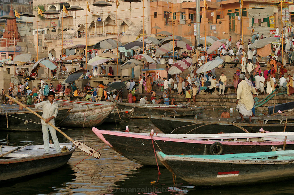 Colorful and popular Dasasvamedha Ghat gets a lot of attention from religious pilgrims, locals, and tourists alike and is one of the busiest bathing ghats in the city of Varanasi.