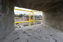 Additional View taken through a portal in new Auto Bridge overpass above RR Tracks. Construction Progress Photography of the Railroad Station at Fairfield Metro Center - Site visit 14 of once per month Chronological Documentation.