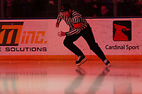 KELOWNA, BC - FEBRUARY 15: Referee Brayden Arcand enters the ice at the \Kelowna Rockets against the Red Deer Rebels at Prospera Place on February 15, 2020 in Kelowna, Canada. (Photo by Marissa Baecker/Shoot the Breeze)