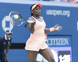 September 5, 2017 - New York, New York, United States - Sloane Stephens of USA returns ball during match against Anastasija Sevastova of Latvia at US Open Championships at Billie Jean King National Tennis Center  (Credit Image: © Lev Radin/Pacific Press via ZUMA Wire)