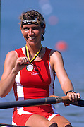 Munich, GERMANY   DEN LW1X Medal, 1998 FISA World Cup, Munich Olympic Rowing Course, 29-31 May 1998.  [Mandatory Credit, Peter Spurrier/Intersport-images] 1998 FISA World Cup, Munich, GERMANY