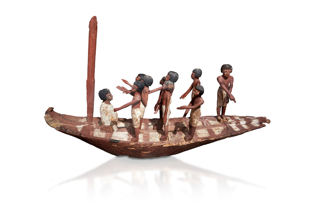 Ancient Egyptian model of a boat with mast, Middle Kingdom (1980-1700 BC. Egyptian Museum, Turin. white background.<br /> <br /> Wooden tomb models were an Egyptian funerary custom throughout the Middle Kingdom in which wooden figurines and sets were constructed to be placed in the tombs of Egyptian royalty. .<br /> <br /> If you prefer to buy from our ALAMY PHOTO LIBRARY  Collection visit : https://www.alamy.com/portfolio/paul-williams-funkystock/ancient-egyptian-art-artefacts.html  . Type -   Turin   - into the LOWER SEARCH WITHIN GALLERY box. Refine search by adding background colour, subject etc<br /> <br /> Visit our ANCIENT WORLD PHOTO COLLECTIONS for more photos to download or buy as wall art prints https://funkystock.photoshelter.com/gallery-collection/Ancient-World-Art-Antiquities-Historic-Sites-Pictures-Images-of/C00006u26yqSkDOM