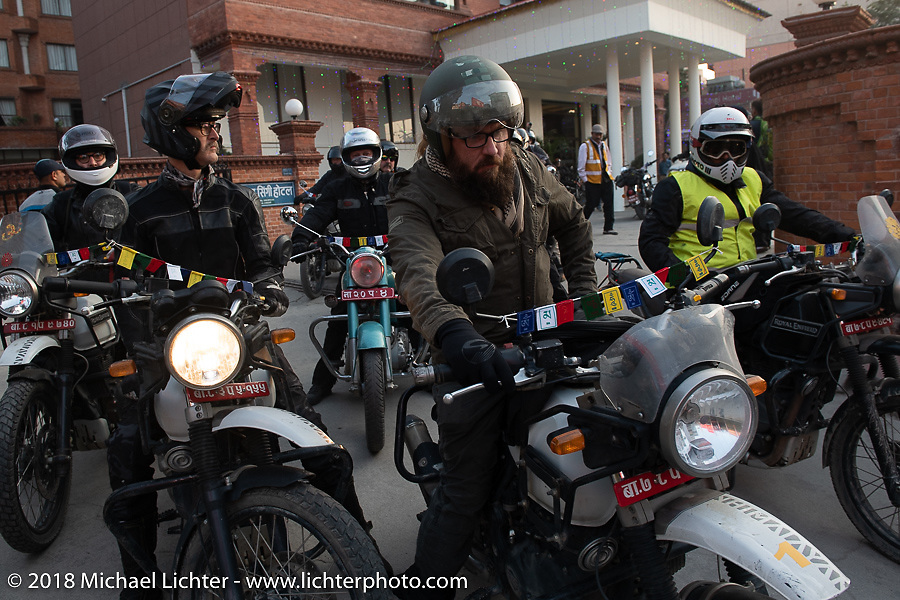 Bear Haughton ready to lead our group out on the first morning of our Himalayan Heroes adventure before riding out from Kathmandu, Nepal. Tuesday, November 6, 2018. Photography ©2018 Michael Lichter.