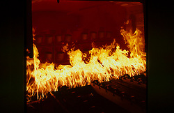 Stock photo of a large fire in the oven for forging metals